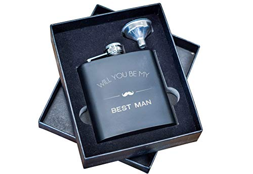 Best Man Proposal Gifts- Will You Be My Best Man Flask Box Set- Whiskey Flasks For Asking Best Men - Extra Thick 5mil #304 Stainless Steel, Laser Engraved Design, Black 2PC Best Man