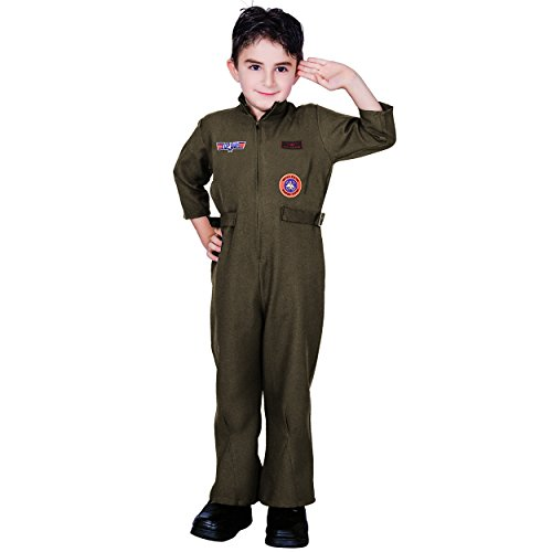 flatwhite Kid Air Force Fighter Pilot Halloween Costume(S (4-6Y)), Black ()