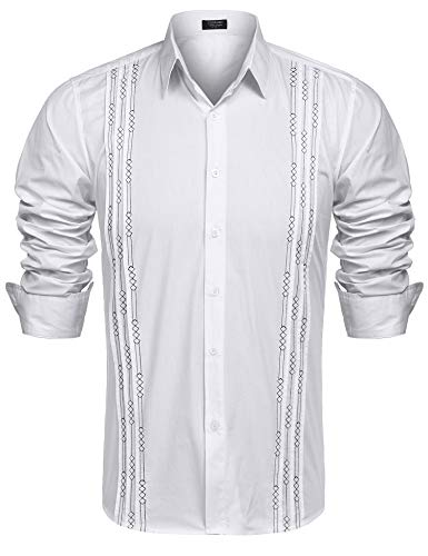 COOFANDY Men's Long Sleeve Cuban Guayabera Shirt Embroidered Button-Down Dress - Shirt Embroidered Jacket
