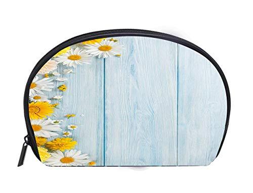 (Half-moon Cosmetic Bag Garden flowers over wooden background Travel Cosmetic Case Luxury Makeup Artist Bag)