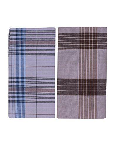 JISB Men's Cotton Checks Lungi,2 Mtr length, 2 Piece pack