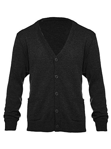 Knit Minded Mens Big and Tall Flat Knit Long Sleeve V-Neck Two Pocket Cardigan Sweater Black 2X