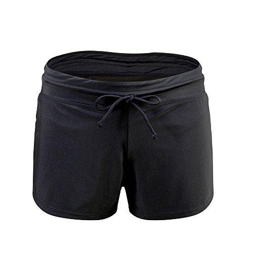 Lemef Women's Waistband Swimsuit Bottom Boyshort Quick Dry Stretchy Board (Small Boyshort)