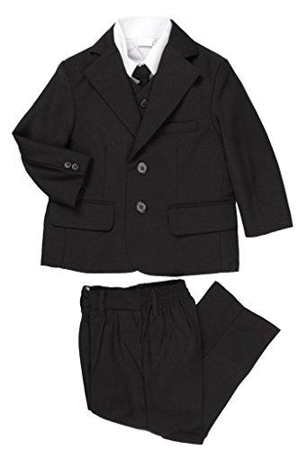 5 Piece Boy's Dress Suit with Shirt, Vest, and Tie (5, Black) (Black On Black Suit)