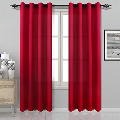 DWCN Red Curtain Faux Silk Country Modern Style Draperies 8 Grommets Window Curtain Panel 52x84 inch (Set of 2 Panels) Curtains for Bedroom/Kitchen/Dinning Room/Living Room