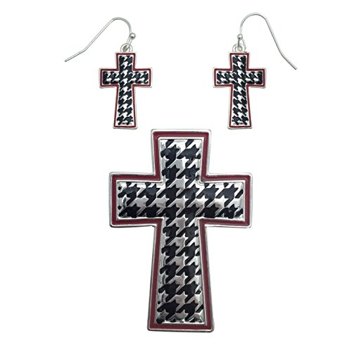 Houndstooth Crimson Outline Pendant Earrings product image