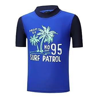 PHIBEE Boys' Short Sleeve Rash Guard Shirt UPF 50+ Sun Protection Swimwear - Blue - 2T