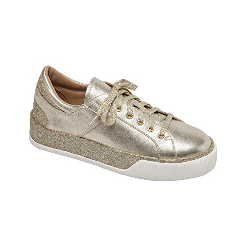 (Linea Paolo Katz | Sporty Handcrafted Lace Up Sneaker Eggshell/Rose Leather/Glisten Leather 10M)