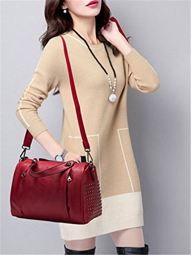 Xinmaoyuan Mujer bolsos de cuero Bolsos de cuero de vaca cabeza Servilleta almohada Bolsa Bolso de Hombro hombro Rojo