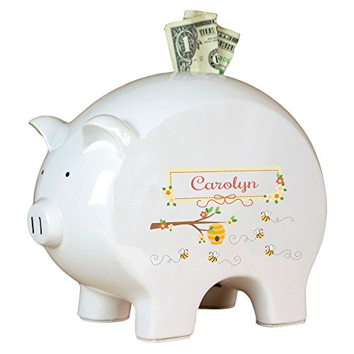 Personalized Honey Bees Piggy Bank