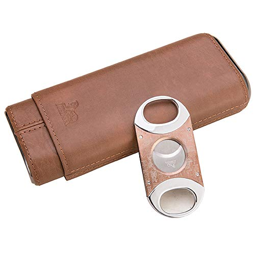 - LUBINSKI 3 Tubes Cigar Holder Cigar Cutter Travel Leather 3 Fingers Cigar Case with Cedar Wood Lined Cigar Gift Set Packed with Nice Box (Brown)