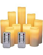 HANZIM bezpłomieniowe świece LED na baterie i pilota, średnica 5,2, wysokość 10 cm, kolor kości słoniowej, 9 sztuk