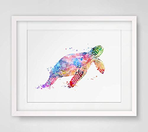 - Sea Turtle Watercolor Art Print Wall Art Poster Inspiration Watercolor Painting Colorful Sea Turtle Art Paper Home Decor Marine Life 8x10 inch No Frame