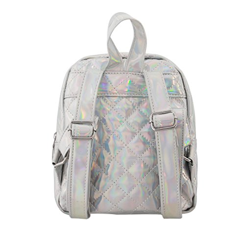 Holographic Small Satchel Knapsack Candice Silver 717 Shoulder PU Leather Hologram Women Backpack Bag 8ngxqEC