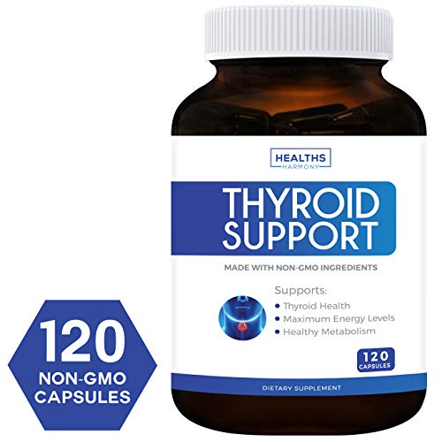 Thyroid Support Supplement - 120 Capsules (NON-GMO) Improve Your Energy & Increased Metabolism For Weight Loss - With Iodine & Ashwagandha Root for Thyroid Health - 100% Money Back Guarantee