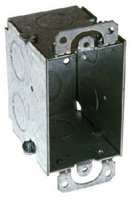 Hubbell Raco 8500 2-1/2-Inch Deep, Gangable, 1/2-Inch End Knockouts with Plaster Ears 3-Inch by 2-Inch Switch Box by Raco