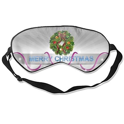 (Sleep Mask, Blindfold Super Smooth Eye Mask Holiday Christmas Merry Bell Ornaments Wreath Eye Cover for Women Men)