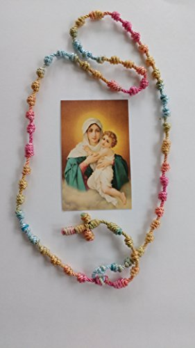 Mother Thrice Admirable of Schoenstatt Cord Rosary (Gold, Cardinal Red and Turguoise)