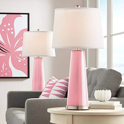 Leo Modern Table Lamps Set of 2 Haute Pink Glass Tapered Column Plain White Drum Shade for Living Room Family Bedroom - Color + Plus ()