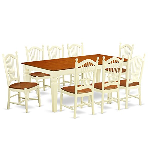 East West Furniture LGDO9-BMK-W 9Piece Dining Room Table Set with One Logan Dining Table & Eight Dining Room Chairs in Buttermilk & Cherry Finish