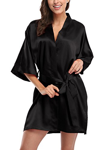 Laurel Snow Women's Short Satin Kimono Robes Pure Color Sleepwear Bathrobe for Wedding Party