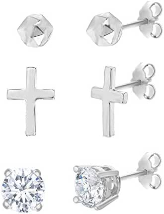 SUPER SALE Sterling Silver Ecoat Stud Ball Cross Cubic Zirconia Round 3-Pair Earring Set