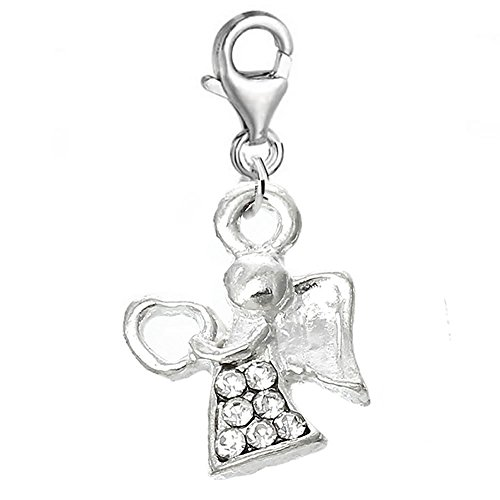 Angel Clasp Charm - SEXY SPARKLES Angel Clip on for Bracelet Charm Pendant for European Charm Jewelry with Lobster Clasp