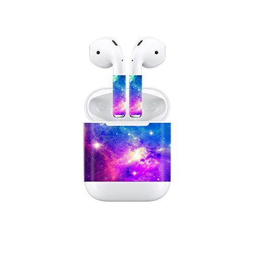 Price comparison product image Vinyl Skin Decal for Airpods Bluetooth Earphone Case Protective Sticker Wrap Cover Skins-Purple Red Nebula