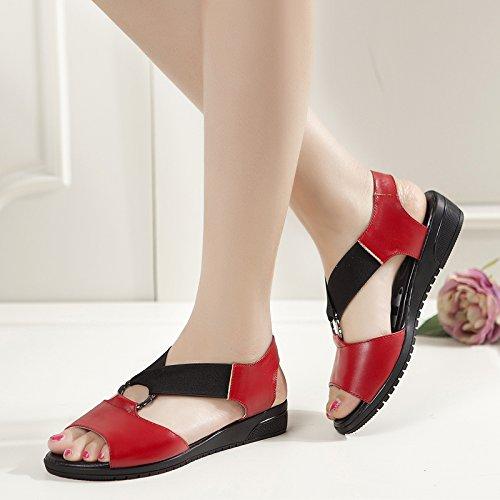 Moda Mujer verano sandalias confortables tacones altos,36 Silver Red