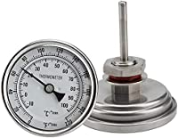 """Home Brewing Brewing Thermometer Wine Thermometer Weldless Bi-Metal Thermometer Kit 3""""Face & 2"""" Probe 1/2""""MNPT 0~220F GRADE HOMEBREW KETTLE haz tu propia cerveza"""