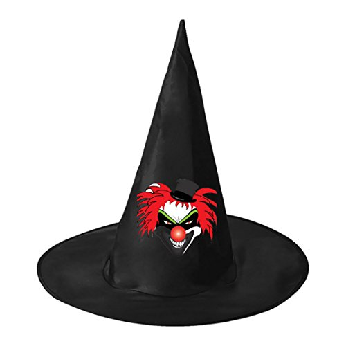 Halloween Wicked Joker Black Wizard Witch Hat Costume Accessory For Party & (Spirit Halloween Giggles The Clown)