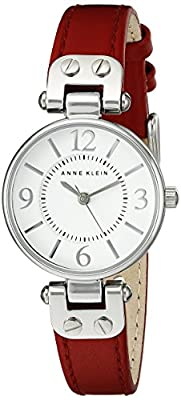 Anne Klein Women's 109443WTRD Silver-Tone White Dial and Red Leather Strap Watch