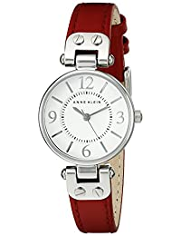 Anne Klein Women's 109443WTRD Silver-Tone Watch with Red Faux-Leather Band
