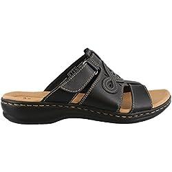 Clarks Women's Leisa Higley Slide Sandal, Black Leather, 9 M US