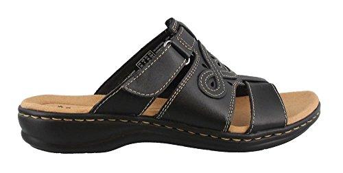 Clarks Leather Slides (CLARKS Women's Leisa Higley Slide Sandal, Black Leather, 8 M US)
