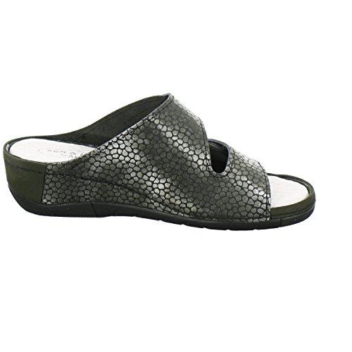 Afs-shoes 28095, Comfort Pantolette Da Donna, Comode Pantofole, Scarpe Da Lavoro Con Zeppa, Vera Pelle, Made In Germany Oliva