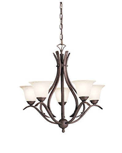 Chandeliers 5 Light with Tannery Bronze Finish Candelabra Bulb 24 inch 300 Watts