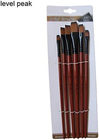 FCNBAN アートモデルペイントナイロンヘアアクリルオイル水彩画ドローイングアートクラフトアーティストがブラシセットペイント絵画ブラウン6個用品 (Color : Level peak)