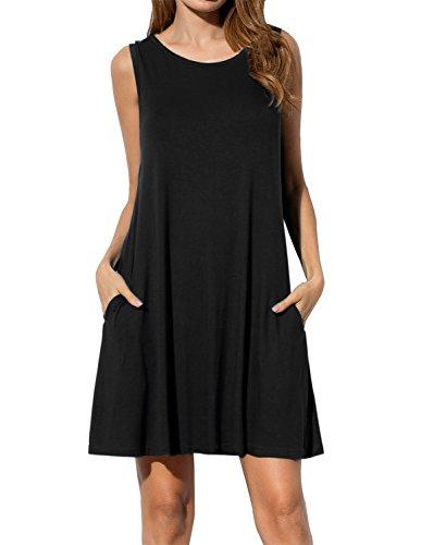 1faae0275dd8e AUSELILY Women s Sleeveless Pockets Casual Swing T-shirt Dresses