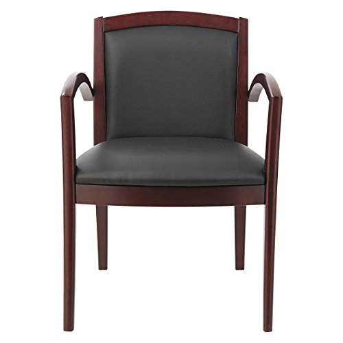 Global Series Leather (Alera ALERL5219M Reception Lounge 500 Series Arch Solid Wood Chair, Mahogany/Black Leather)