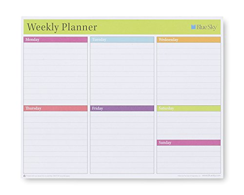 Blue Sky Weekly Planning Paper Pad, Lined Daily Squares, 53 Sheets, Top Glued and Easy Page Tearoff, 10' x 8'
