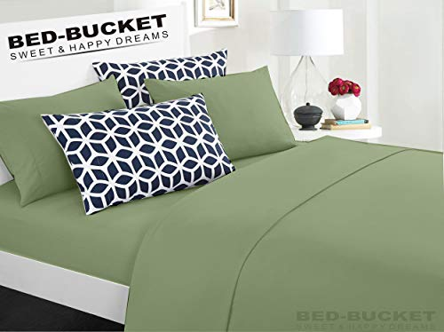 - Bed-Bucket 100% Natural Cotton 800-TC Moss Solid King/Cal-King Size Attached Waterbed Sheet Set 4pc 72