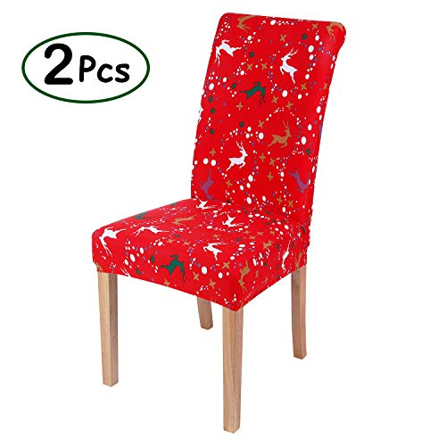 misaya Stretch Dining Room Chair Cover Spandex Removable Washable Floral Printing Chair Slipcover for Kitchen, Red Christmas Elks, Set of 2