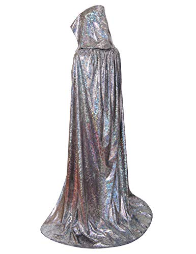 GRACIN Unisex Halloween Hooded Cloak, Full Length Shiny Snake Skin Costume Party Cape for Adult (59