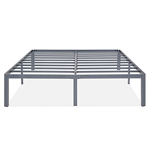 SLEEPLACE 14 Inch Tall SPT-200 Round Safety Edge Steel Slat Bed Frame (Grey) (FULL)
