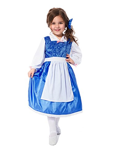 Little Adventures Traditional Beauty Day Dress Girls Costume - Medium (3-5 (Belle Costume Toddler)