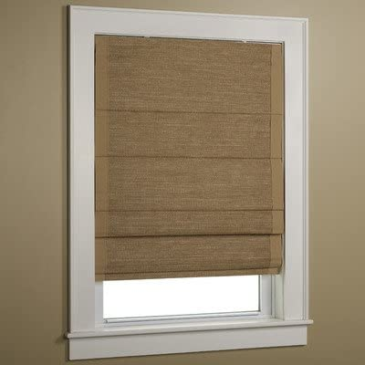 Green Mountain Vista Thermal Cordless Woven Roman Shade with Wicker-Wheat Border, 36 by 63-Inch