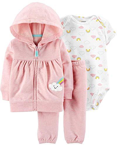 Carter's Baby Girls' 3-Piece Little Jacket Set (Pink/Heather Rainbows, 9 Months)