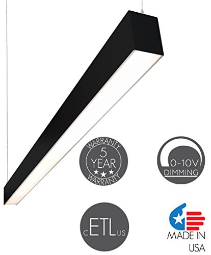 Alcon Lighting Lineo 4 Foot (48 inches) Modern Architectural LED Linear Ceiling Suspended Suspension Light Fixture 37W 3800 Lumens 3000K Black Finish for Office, Warehouse, Factory, Home, ()