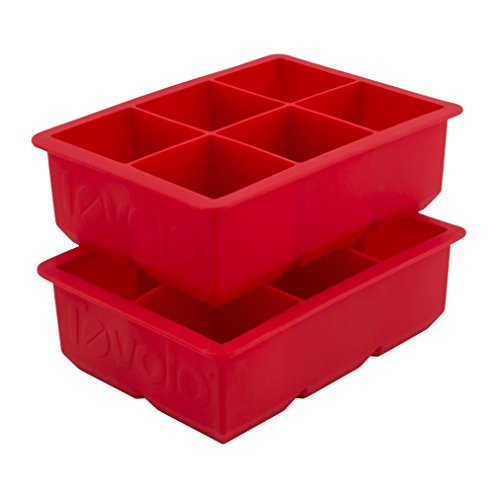 Tovolo King Cube Ice Mold Tray, Long Lasting Sturdy Silicone, Fade-Resistant, 2 Inch Cubes, Set of 2 Trays, Candy Apple Red ()